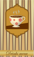 Drink card design with a coffee cup