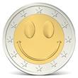 canvas print picture - Zwei Euro Münze mit fröhlichem Smiley