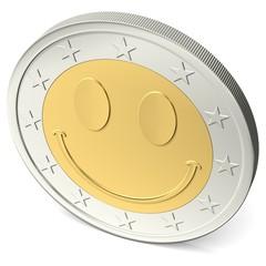 Zwei Euro Münze mit fröhlichem Smiley