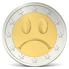 Zwei Euro Münze mit traurigem Smiley