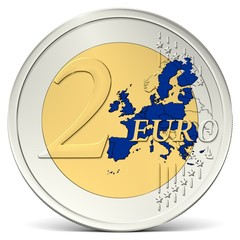 Zwei Euro Münze mit blauem Europa