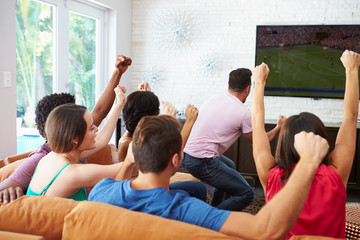 Group Of Friends Watching Soccer Celebrating Goal