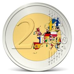 Zwei Euro Münze mit buntem Europa mit Flaggen