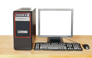 black computer and display with cut out screen