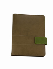 Brown colored organizer book with green strap