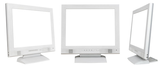 set of grey computer displays with cutout screen