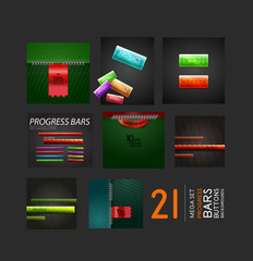 Set of progress bars buttons and backgrounds