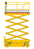 Self propelled scissor lift isolated on white background. - 65243233