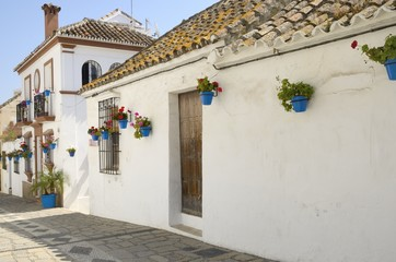 Houses decorated with flowers pots in Estepona, Spain