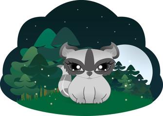 mapache en el bosqu