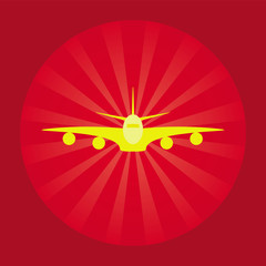 PrintYellow trendy airplane icon with red background