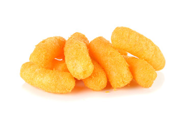 Cheese puff snack on a  white background