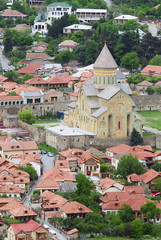 Aerial view of Mtskheta city, old capital of Georgia