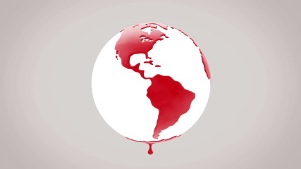 Planet earth dripping blood