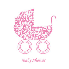 Baby girl arrival announcement card. baby icons