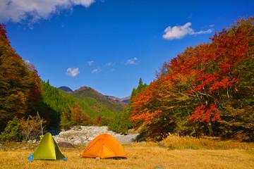 紅葉とテント