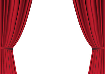 Red curtain opened on white