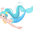 Cute Mermaid swimming