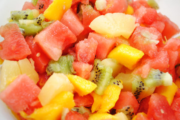Tropical Fruit Salad with Melon, Mango, Kiwi and Pineapple