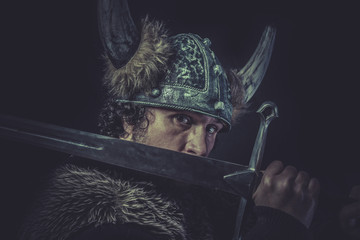 Danger, Viking warrior with a huge sword and helmet with horns