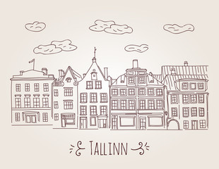 Vector hand drawn European houses in Tallinn