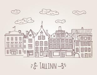 Vector hand drawn European houses in Tallinn