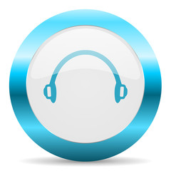 headphones blue glossy icon