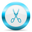 scissors blue glossy icon