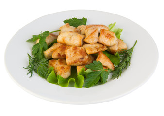 Fried pieces of chicken meat on plate
