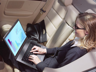 busy businesswoman with laptop