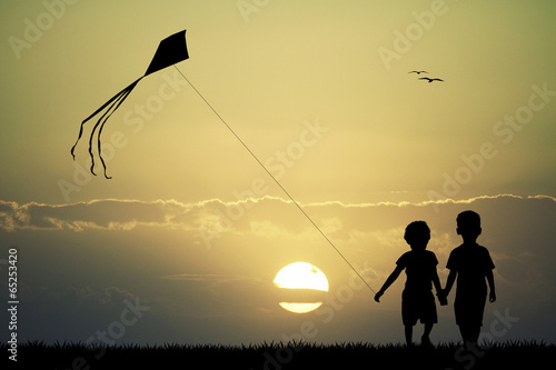 children with kite