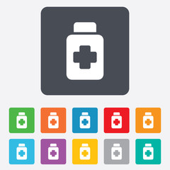 Drugs sign icon. Pack with pills symbol.