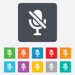No Microphone sign icon. Speaker symbol.