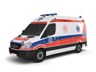 Карета скорой помощи на белом фоне