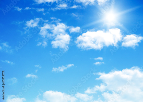 blue sky background with tiny clouds - 65255079
