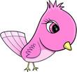Pink Cute Bird Vector Illustration Art