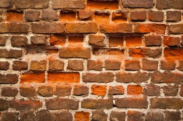 Broken Dilapidated Old Brick Wall