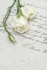 antique handwritten love letter and flowers