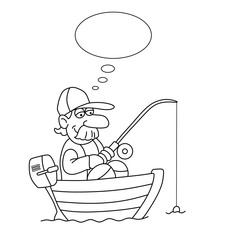 Monochrome outline cartoon fisherman in boat