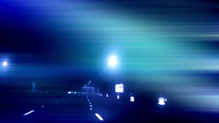 Night driving time lapse blue hue animated overlay mixed media