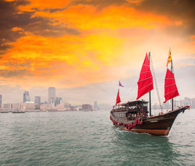 Famous Red Sails Ship crossing the strait from Hong Kong to Kowl