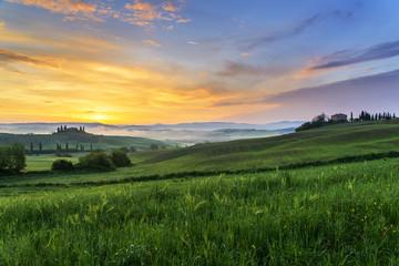 Tuscan countryside at dawn