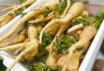 Parsnips for sale at Farmers Market