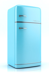 Blue retro refrigerator isolated on white background