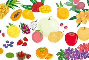 メロンやリンゴ、マンゴーやぶどうのフルーツの壁紙