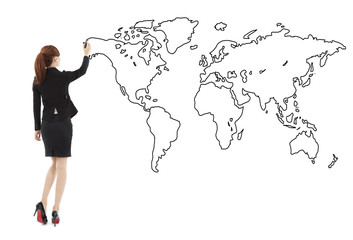 Business woman standing and drawing  global map