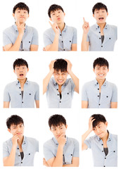 asian young man face expressions composite isolated on white