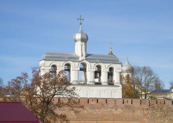 Вид на звонницу Софийского собора. Кремль Великого Новгорода