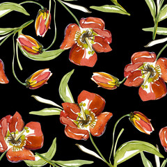 Red tulip seamless pattern
