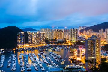 Aberdeen typhoon shelter in Hong Kong at night